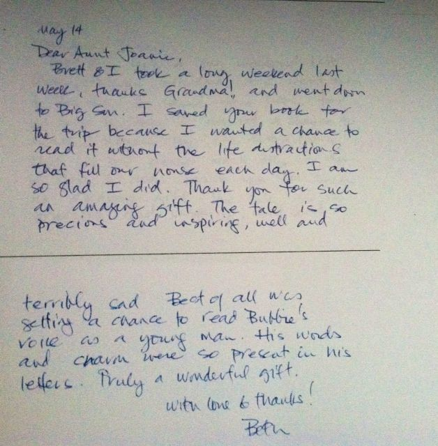 Beth Holzer thank you note for writing book May 2013