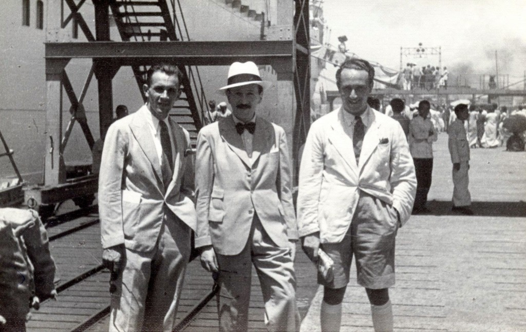 China 1939 LtoR aide to Frank Urbanek, Leo Lilling, Oswald Holzer on dock in Hong Kong